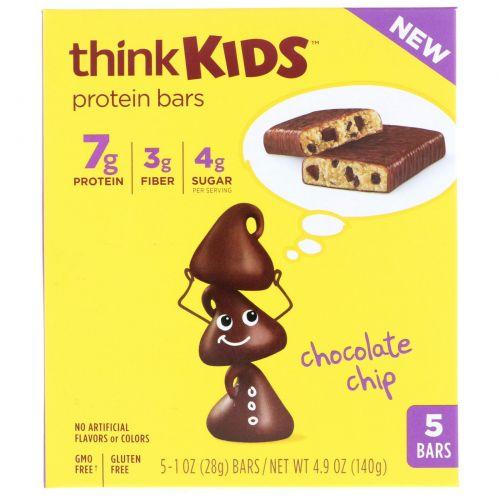 ThinkThin, ThinkKids, протеиновые батончики с шоколадом, 5 штук, 1 унция (28 г) каждая