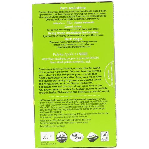 Pukka Herbs, Clean Matcha Green, 20 Green Tea Sachets, 0.05 oz (1.5 g) Each