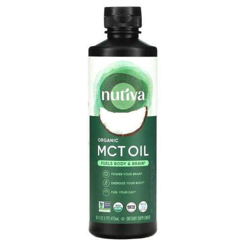 Nutiva, Organic MCT Oil From Coconut, Unflavored, 16 fl oz (473 ml)