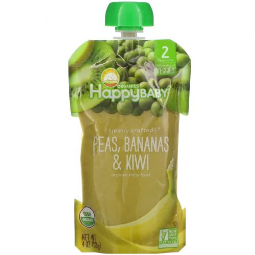 Happy Family Organics, Happy Baby, Organic Baby Food, Stage 2, 6+ Months, Peas, Bananas & Kiwi,  4 oz (113 g)