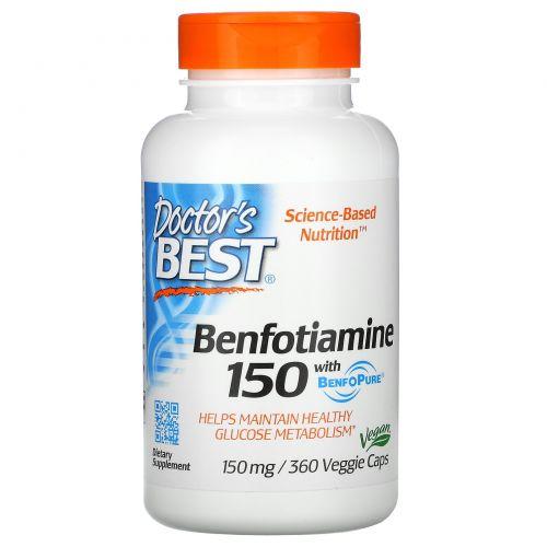 Doctor's Best, Best, Бенфотиамин 150, 150 мг, 360 растительных капсул