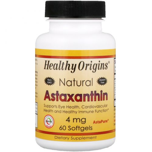 Healthy Origins, Астаксантин, 4 мг, 60 мягких капсул