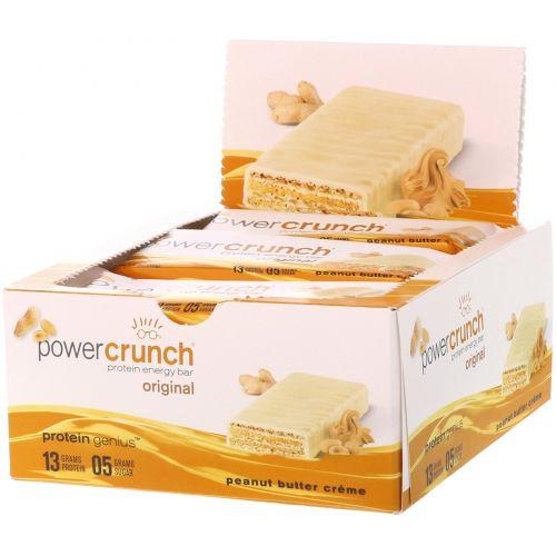 BNRG, Power Crunch, протеиновый энергетический батончик с арахисовым маслом, 12 шт. по 40 г