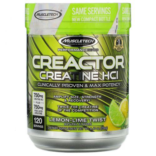 Muscletech, Creactor, креатиновая формула, лимон-лайм, 220 г (7,76 унций)