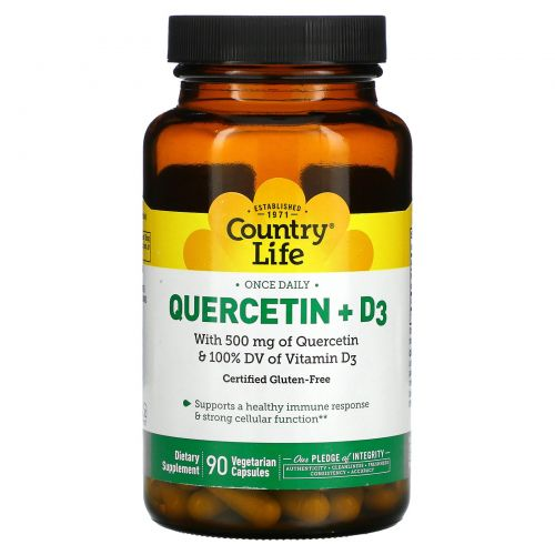 Country Life, кверцетин с витаминомD3, 90вегетарианских капсул