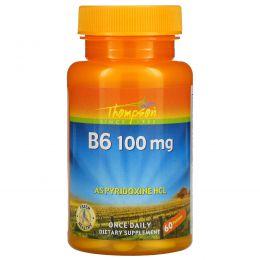 Thompson, Витамин B6, 100 мг, 60 таблеток