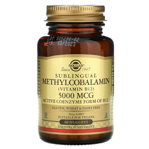 Solgar, Сублингвальный метилкобаламин (витамин B12), 5000 мкг, 60 капсул