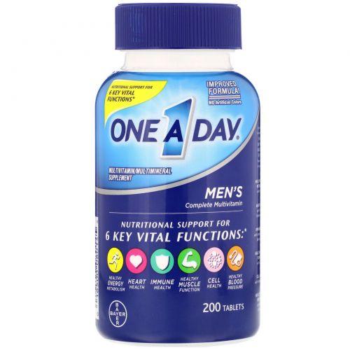 One-A-Day, One A Day для мужчин, состав для здоровья мужчин, 200 таблеток