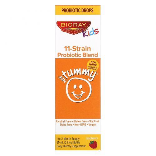 Bioray Inc., Для детей, NDF приводит живот в равновесие, 11 штаммов пробиотиков, ягодный ароматизатор, 2 ж. унц.(60 мл)