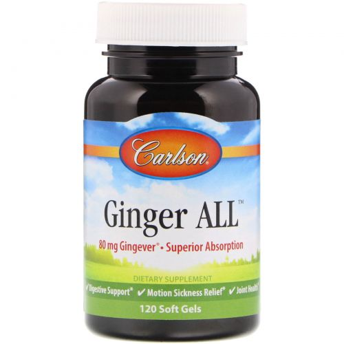 Carlson Labs, Ginger All, 80 mg , 120 Soft Gels