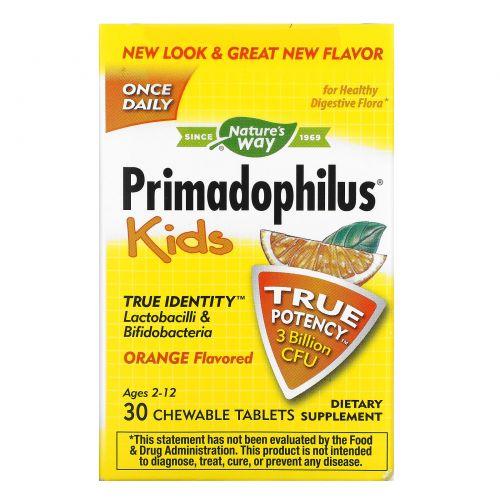 Nature's Way, Примадофил для детей, жевательные таблетки с апельсиновым вкусом, 30 таблеток