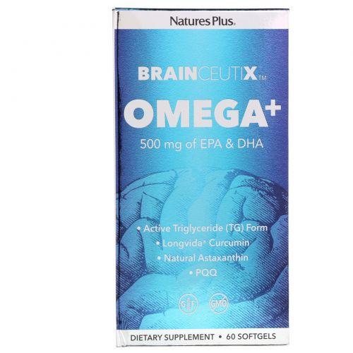 Nature's Plus, Brainceutix, омега+, 500 мг, 60 мягких таблеток