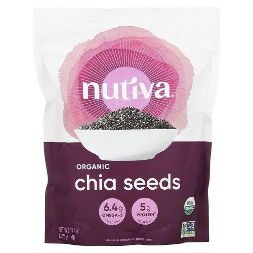 Nutiva, Органические семена чиа, черные, 12 унций (340 г)