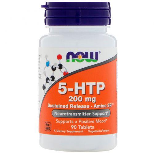 Now Foods, 5-HTP, длительное усвоение, Amino SR, 200 мг, 90 таблеток