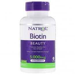 Natrol, Биотин, Экстра сила, 5000 мкг, 150 таблеток
