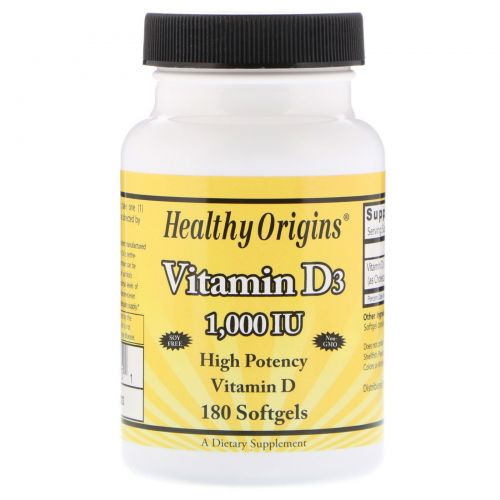 Healthy Origins, Витамин D3, 1000 МЕ, 180 капсул