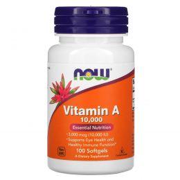 Now Foods, Витамин А, 10000 МЕ, 100 капсул