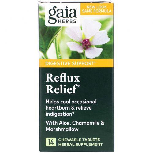 Gaia Herbs, RapidRelief, избавление от рефлюкса, 15 жевательных таблеток