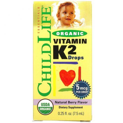 ChildLife, Органические капли витамина K2, натуральный ягодный вкус, 0,406 унций (12 мл)