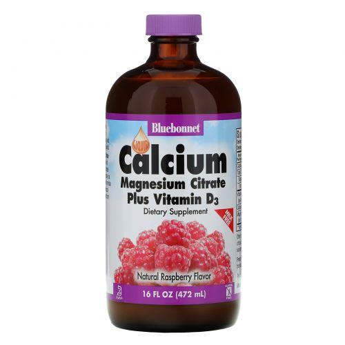 Bluebonnet Nutrition, Жидкий кальция и магния цитрат плюс витамин D3, натуральный малиновый вкус, 16 жидких унций (472 мл)
