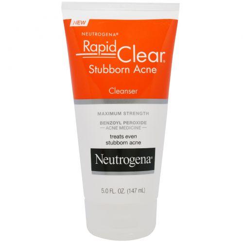 """Neutrogena, """"Быстрая чистка"""", лосьон для лица от застарелых прыщей, сильнодействующий, 5,0 жидких унций (147 мл)"""