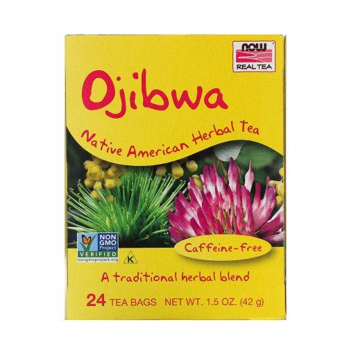 Now Foods, Настоящий чай оджибве, без кофеина, 24 пакетика, 1.5 унций (42 г)