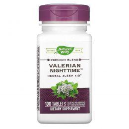 Nature's Way, Валериана «Ночь», натуральная помощь сну, без запаха, 100 таблеток