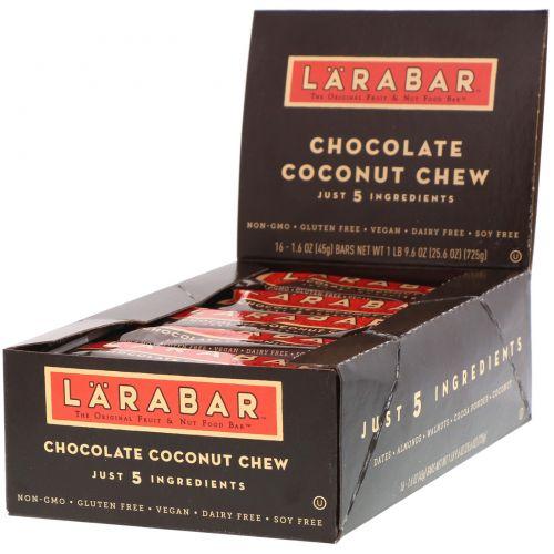 Larabar, Тянучка с кокосом и шоколадом, 16 батончиков, 1,6 унции (45 г) каждый
