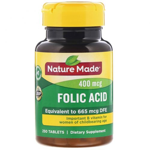 Nature Made, Фолиевая кислота, 400 мкг, 250 таблеток
