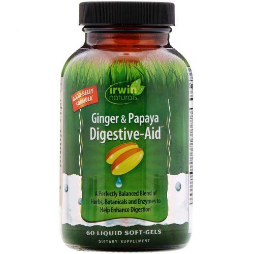 Irwin Naturals, Ginger & Papaya Digestive-Aid, 60желатиновых капсул