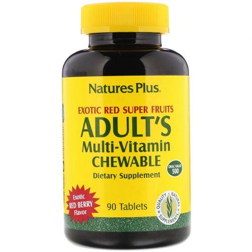 Nature's Plus, Жевательные мультивитамины для взрослых со вкусом экзотических ягод, 90 таблеток