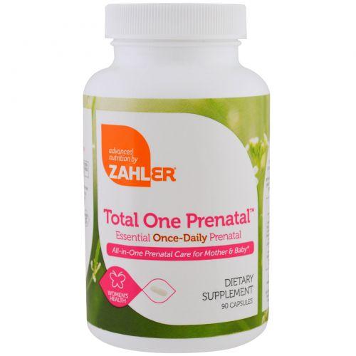 Zahler, Total One Prenatal, предродовой комплекс с необходимыми компонентами для приема один раз в день, 90 капсул