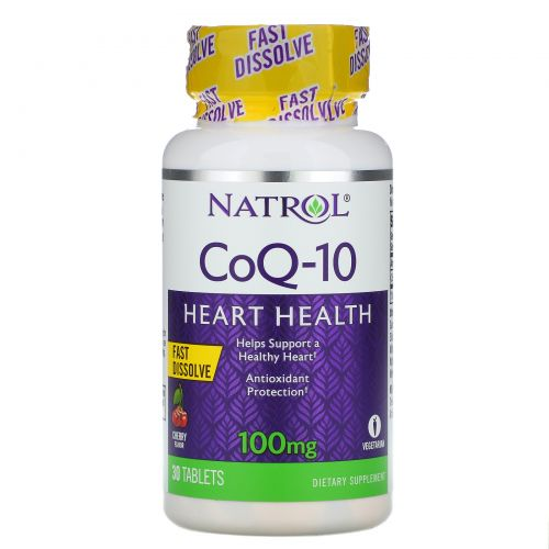 Natrol, CoQ-10, Быстрорастворимый, со вкусом вишни, 100 мг, 30 таблеток