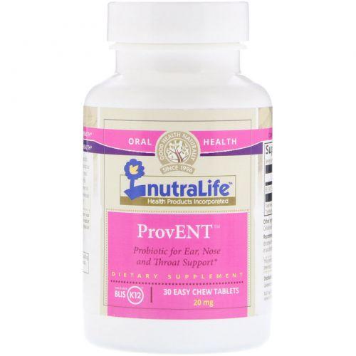 "NutraLife, ""ПроЛОР"", пробиотик с BLIS K12, 20 мг, 30 легко разжевываемых таблеток"