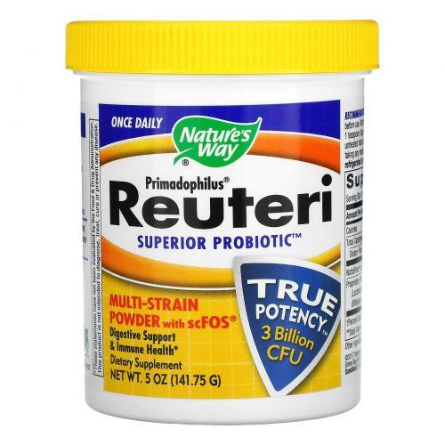 Nature's Way, Примадофилус, Супер пробиотик Реутери, порошок, содержащий несколько штаммов + scFOS, 141,75 г
