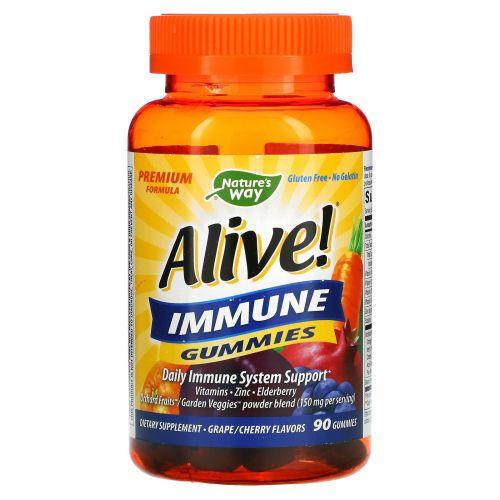 Nature's Way, Alive! Жевательные витамины для поддержания иммунитета, со фруктовым вкусом, 90 желейных витаминов