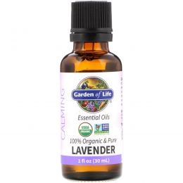 Garden of Life, 100% Organic & Pure, Essential Oils, Calming, Lavender, 1 fl oz (30 ml)
