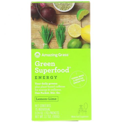 Amazing Grass, Зеленый суперпродукт, растворимый напиток с энергией лимона и лайма, 15 отдельных пакетиков по 7 г