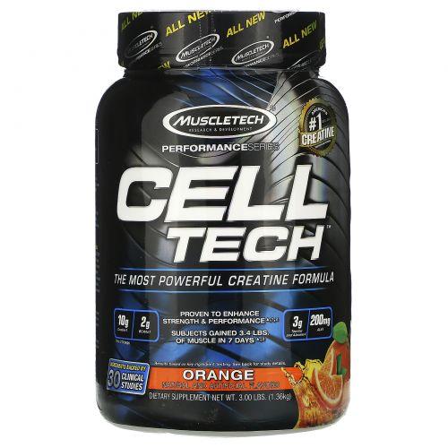 Muscletech, Целл Тех, Мощнейшая формула с креатином, Апельсин, 3.09 фунта (1.40 кг)