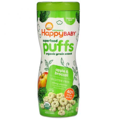 Nurture Inc. (Happy Baby), Органический супер продукт, колечки, яблоко и брокколи, 2,1 унции (60 г)