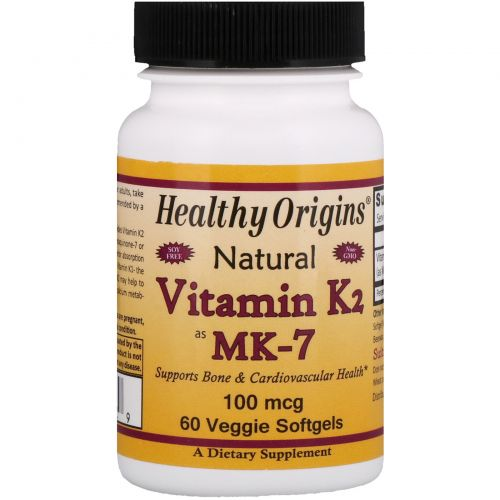 Healthy Origins, Витамин K2 в форме MK-7, натуральный, 100 мкг, 60 капсул в растительной оболочке