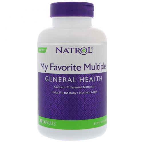 Natrol, My Favorite Multiple, без железа, 180 капсул