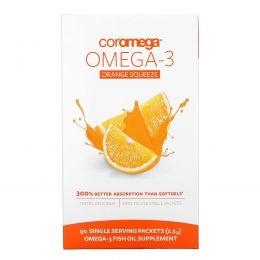 Coromega, Омега-3, Выжимающиеся пакетики со вкусом апельсина, 90 пакетиков, 2.5 г каждый