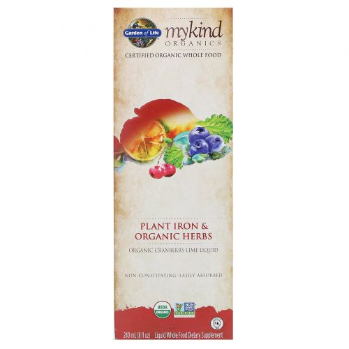 Garden of Life, Mykind Organics, растительное железо и органические травы, клюква-лайм, 8 жидких унций (240 мл)