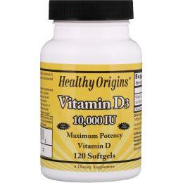 Healthy Origins, Витамин D3, 10000 МЕ, 120 желатиновых капсул