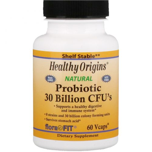 Healthy Origins, Пробиотики, 30 миллиардов микроорганизмов, 60 капсул