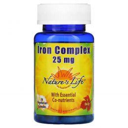 Nature's Life, Iron Complex, 25 мг, 50 вегетарианских капсул