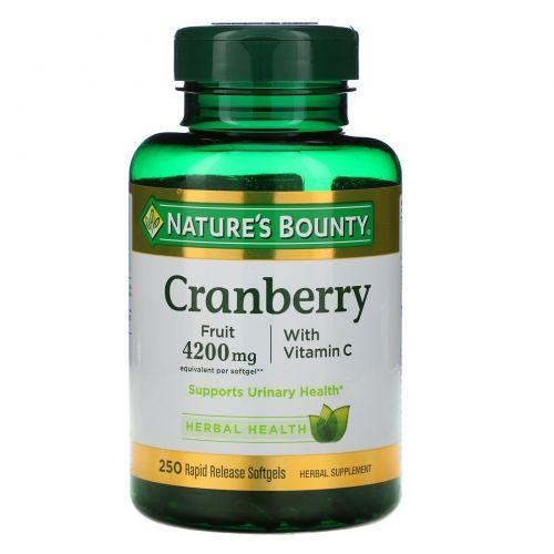 Nature's Bounty, Клюква, с витамином C, 250 желатиновых капсул быстрого высвобождения