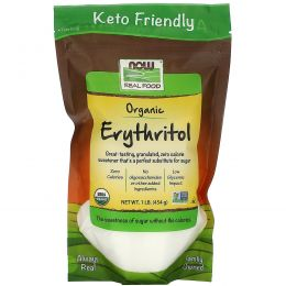 Now Foods, Organic, Эритритол, натуральный подсластитель, 1 фунт (454 г)