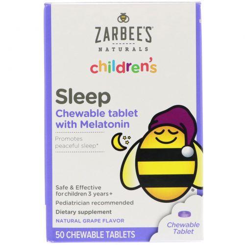 Zarbee's, Детские жевательные таблетки с мелатонином для улучшения сна, натуральный виноградный вкус, 50 жевательных таблеток